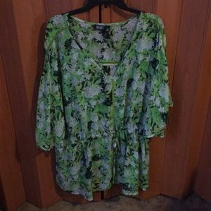 Green floral top Ana brand